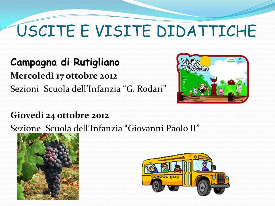 USCITE E VISITE DIDATTICHE Campagna di Rutigliano Mercoledì 17 ottobre 2012 Sezioni Scuola dellInfanzia G. Rodari Giovedì 24 ottobre 2012 Sezione Scuo