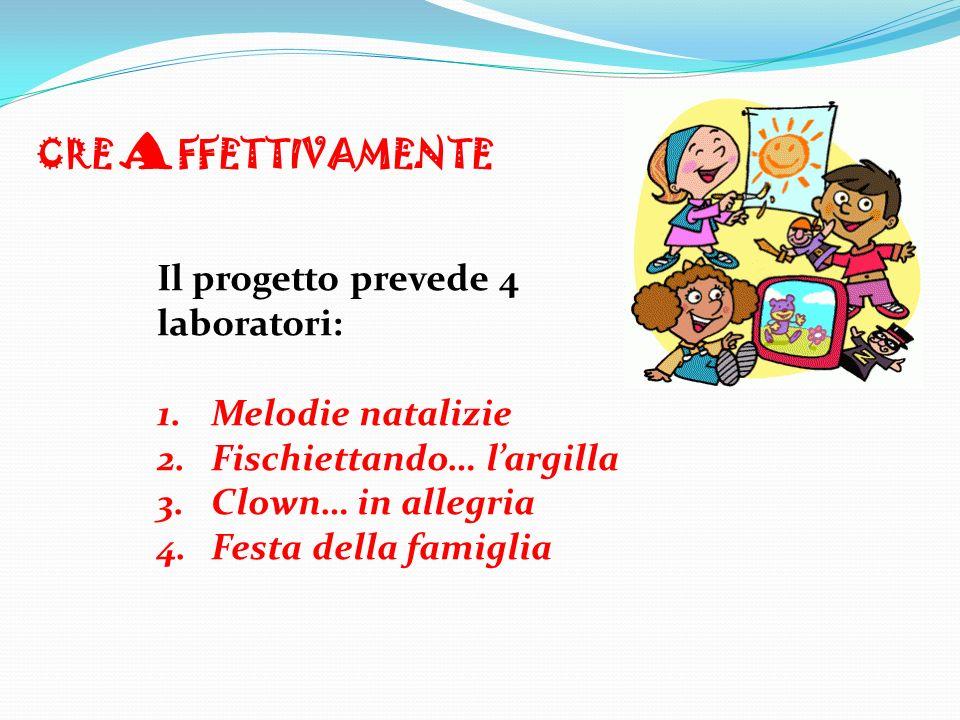 Il progetto prevede 4 laboratori: 1.Melodie natalizie 2.Fischiettando… largilla 3.Clown… in allegria 4.Festa della famiglia CRE A FFETTIVAMENTE