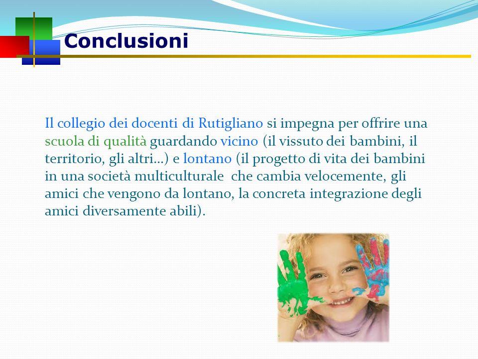 Conclusioni Il collegio dei docenti di Rutigliano si impegna per offrire una scuola di qualità guardando vicino (il vissuto dei bambini, il territorio