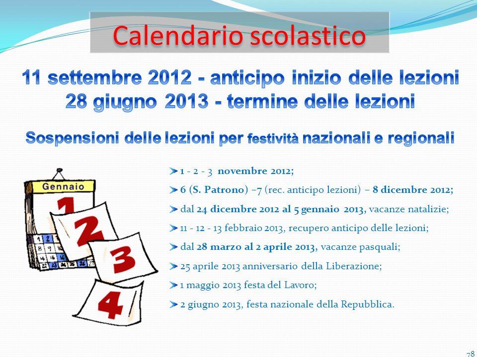 Calendario scolastico 78 1 - 2 - 3 novembre 2012; 6 (S. Patrono) –7 (rec. anticipo lezioni) – 8 dicembre 2012; dal 24 dicembre 2012 al 5 gennaio 2013,