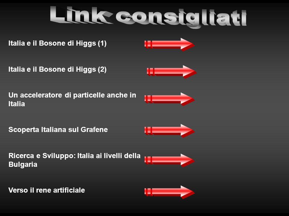 Italia e il Bosone di Higgs (1) Italia e il Bosone di Higgs (2) Un acceleratore di particelle anche in Italia Scoperta Italiana sul Grafene Ricerca e