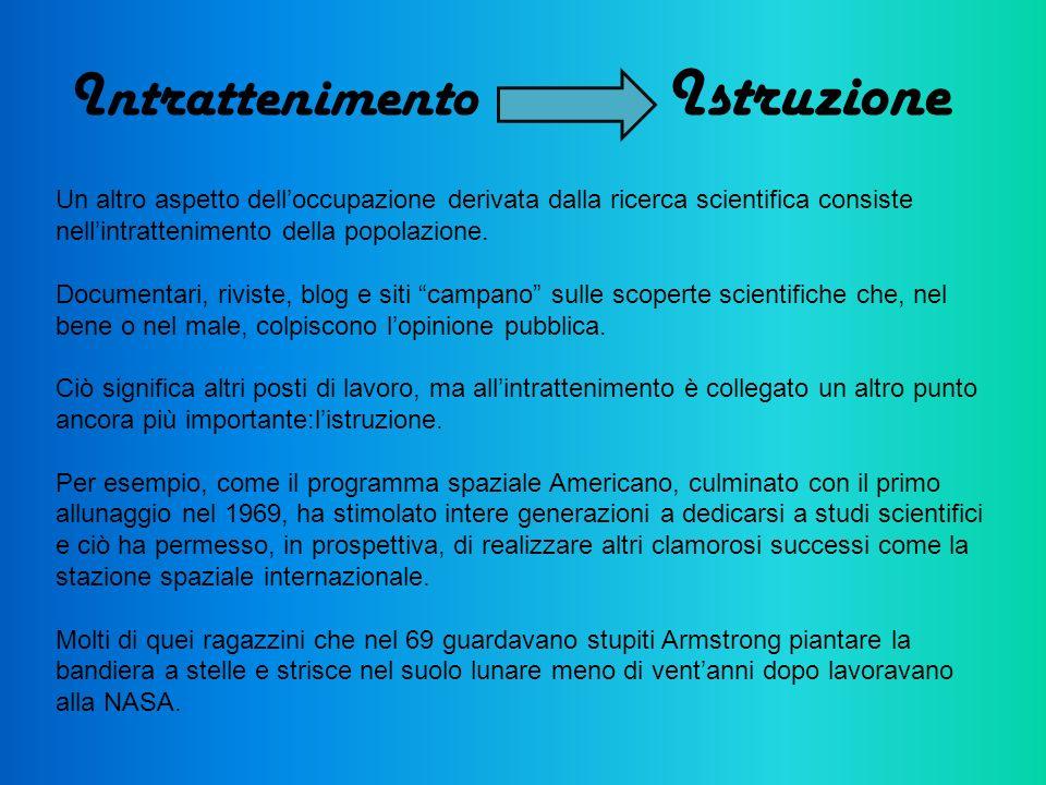 Intrattenimento Istruzione Un altro aspetto delloccupazione derivata dalla ricerca scientifica consiste nellintrattenimento della popolazione. Documen