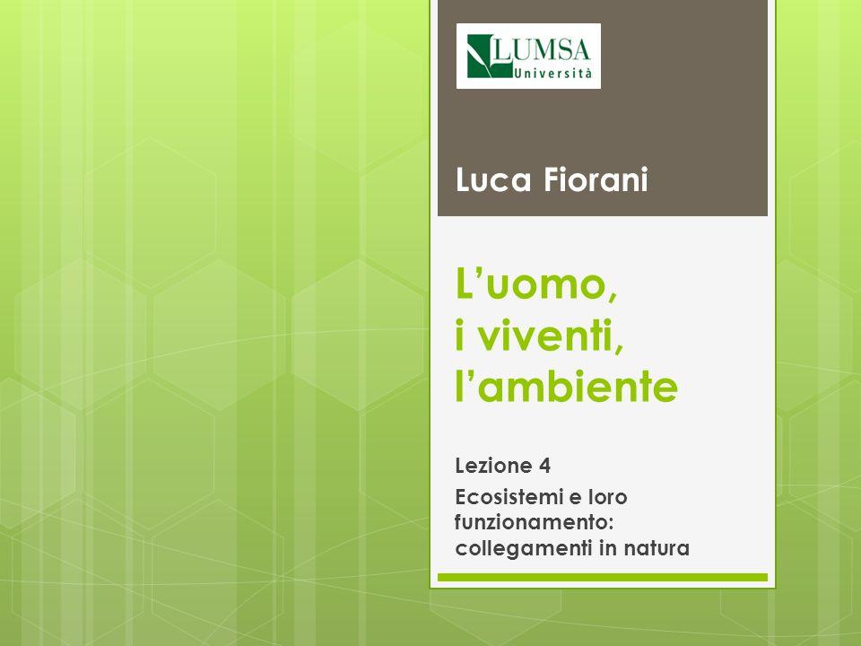 Luomo, i viventi, lambiente Lezione 4 Ecosistemi e loro funzionamento: collegamenti in natura Luca Fiorani