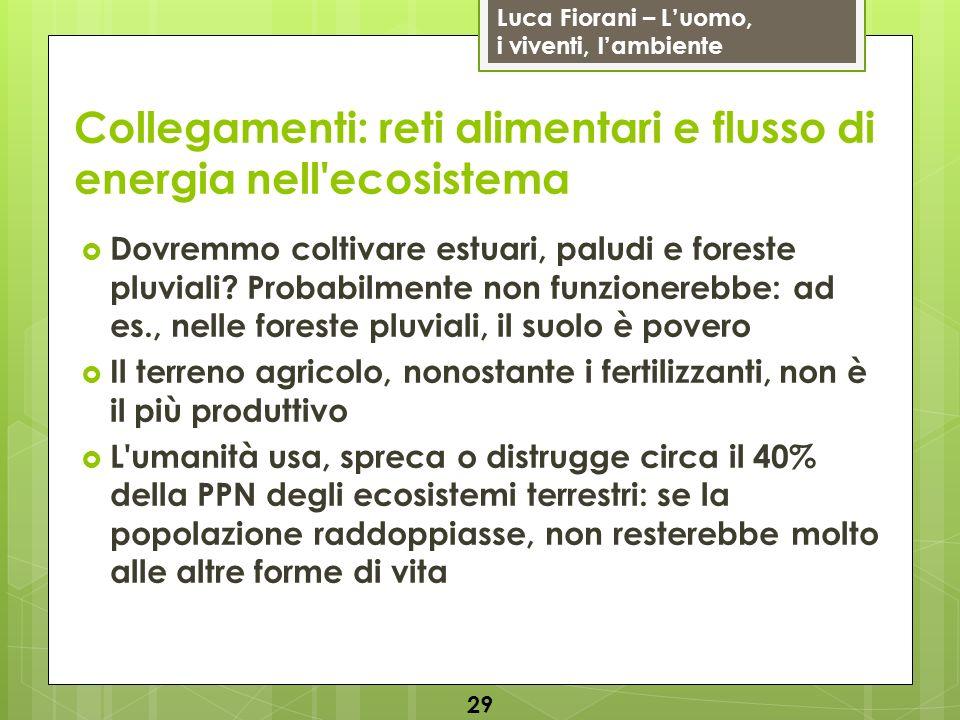 Luca Fiorani – Luomo, i viventi, lambiente Collegamenti: reti alimentari e flusso di energia nell'ecosistema 29 Dovremmo coltivare estuari, paludi e f