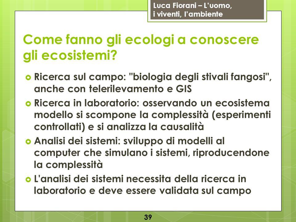 Luca Fiorani – Luomo, i viventi, lambiente Come fanno gli ecologi a conoscere gli ecosistemi? 39 Ricerca sul campo:
