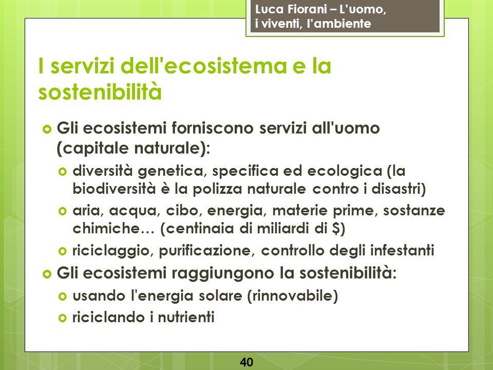 Luca Fiorani – Luomo, i viventi, lambiente I servizi dell'ecosistema e la sostenibilità 40 Gli ecosistemi forniscono servizi all'uomo (capitale natura