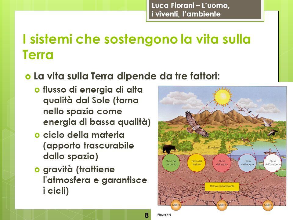 Luca Fiorani – Luomo, i viventi, lambiente I sistemi che sostengono la vita sulla Terra La vita sulla Terra dipende da tre fattori: flusso di energia