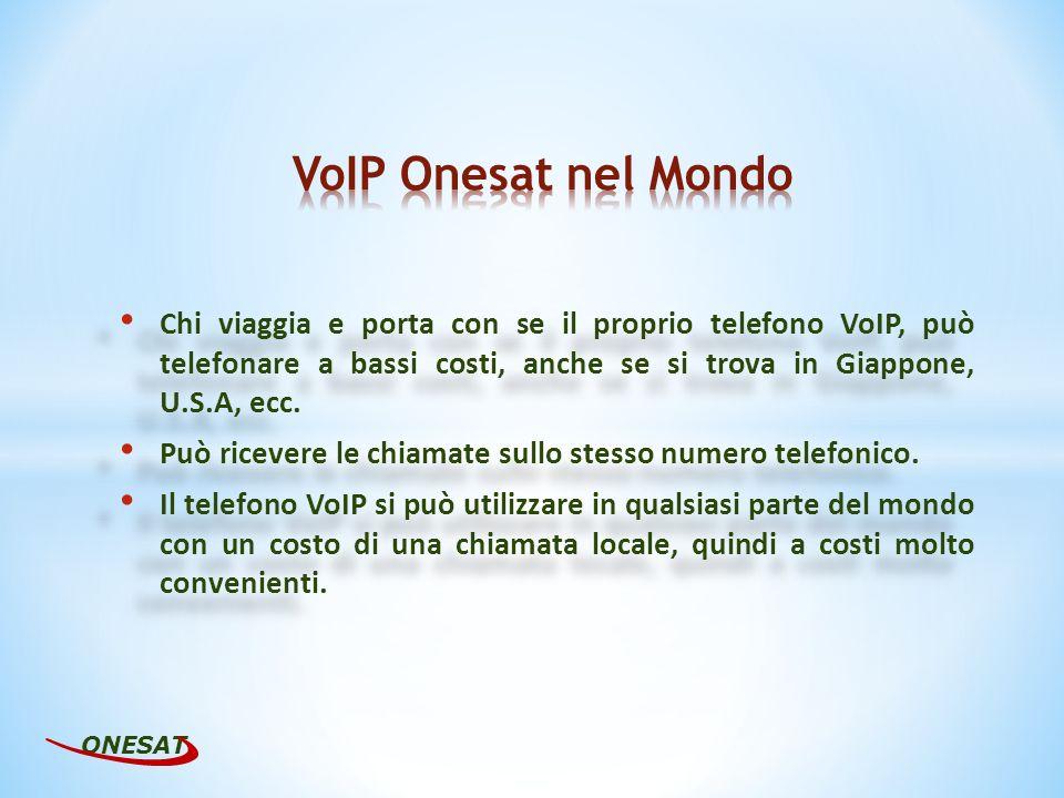 Ad ogni telefono VoIP Onesat può essere abbinato un qualunque numero telefonico geografico nazionale, attraverso il quale si possono effettuare e ricevere chiamate provenienti da qualsiasi altro telefono.