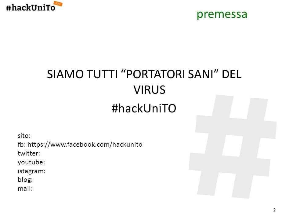 SIAMO TUTTI PORTATORI SANI DEL VIRUS #hackUniTO 2 sito: fb: https://www.facebook.com/hackunito twitter: youtube: istagram: blog: mail: premessa