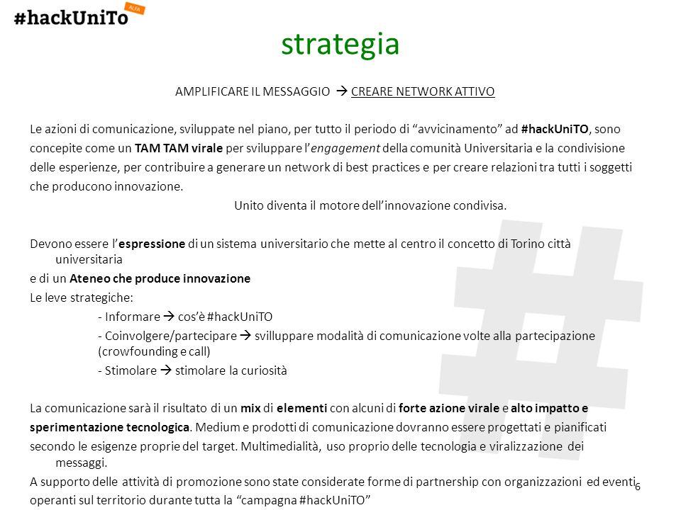 6 strategia AMPLIFICARE IL MESSAGGIO CREARE NETWORK ATTIVO Le azioni di comunicazione, sviluppate nel piano, per tutto il periodo di avvicinamento ad