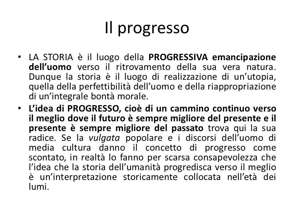 Il progresso LA STORIA è il luogo della PROGRESSIVA emancipazione delluomo verso il ritrovamento della sua vera natura. Dunque la storia è il luogo di