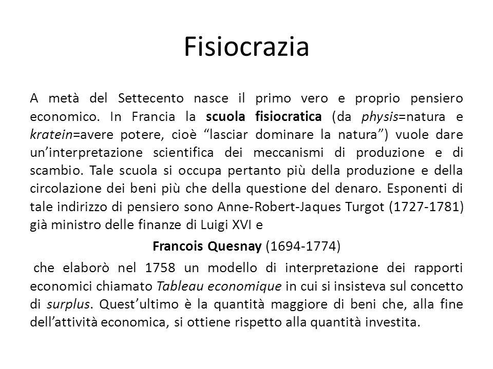 Fisiocrazia A metà del Settecento nasce il primo vero e proprio pensiero economico. In Francia la scuola fisiocratica (da physis=natura e kratein=aver