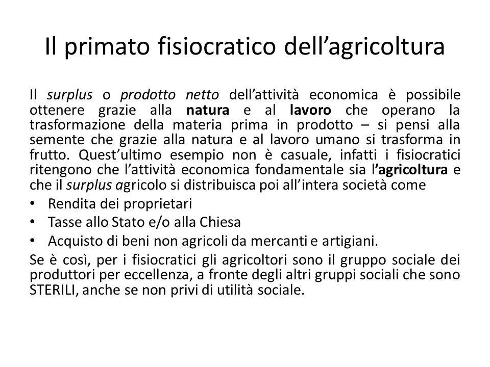 Il primato fisiocratico dellagricoltura Il surplus o prodotto netto dellattività economica è possibile ottenere grazie alla natura e al lavoro che ope