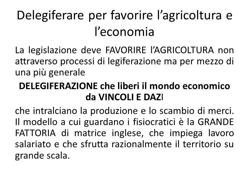 Delegiferare per favorire lagricoltura e leconomia La legislazione deve FAVORIRE lAGRICOLTURA non attraverso processi di legiferazione ma per mezzo di