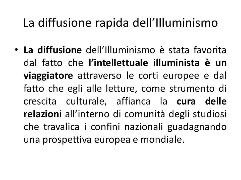 La diffusione rapida dellIlluminismo La diffusione dellIlluminismo è stata favorita dal fatto che lintellettuale illuminista è un viaggiatore attraver