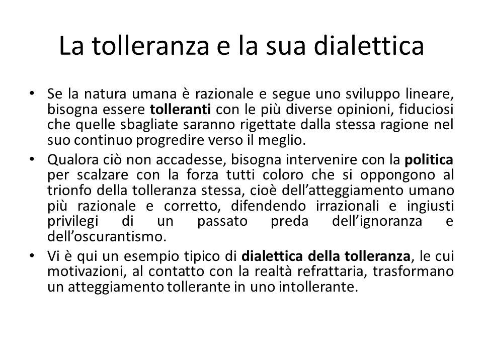 La tolleranza e la sua dialettica Se la natura umana è razionale e segue uno sviluppo lineare, bisogna essere tolleranti con le più diverse opinioni,