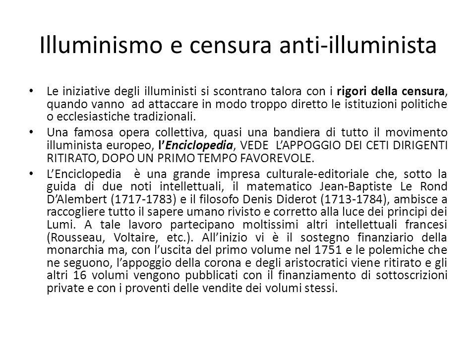 Illuminismo e censura anti-illuminista Le iniziative degli illuministi si scontrano talora con i rigori della censura, quando vanno ad attaccare in mo