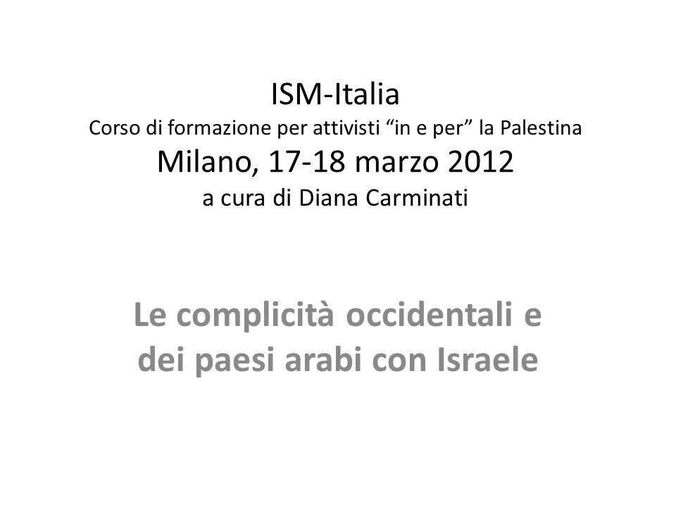 ISM-Italia Corso di formazione per attivisti in e per la Palestina Milano, 17-18 marzo 2012 a cura di Diana Carminati Le complicità occidentali e dei