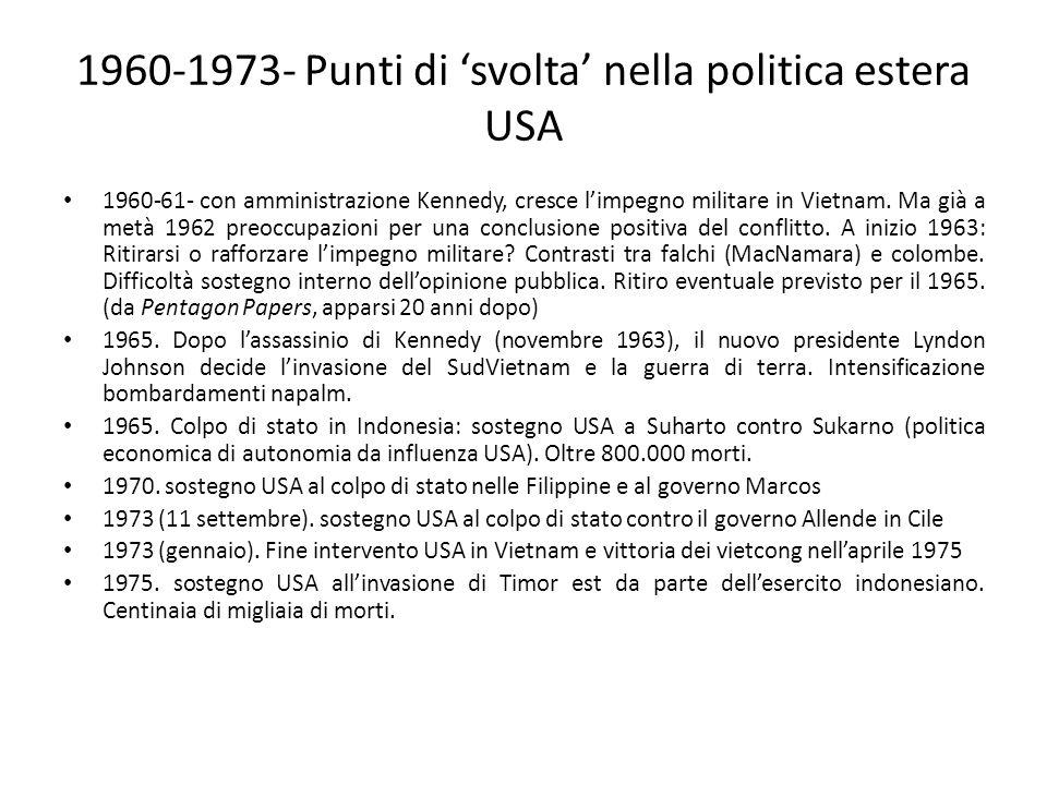 1960-1973- Punti di svolta nella politica estera USA 1960-61- con amministrazione Kennedy, cresce limpegno militare in Vietnam. Ma già a metà 1962 pre