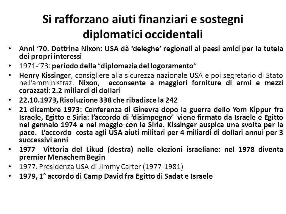 Si rafforzano aiuti finanziari e sostegni diplomatici occidentali Anni 70. Dottrina Nixon: USA dà deleghe regionali ai paesi amici per la tutela dei p