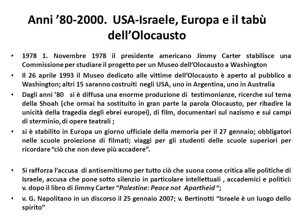 Anni 80-2000. USA-Israele, Europa e il tabù dellOlocausto 1978 1. Novembre 1978 il presidente americano Jimmy Carter stabilisce una Commissione per st