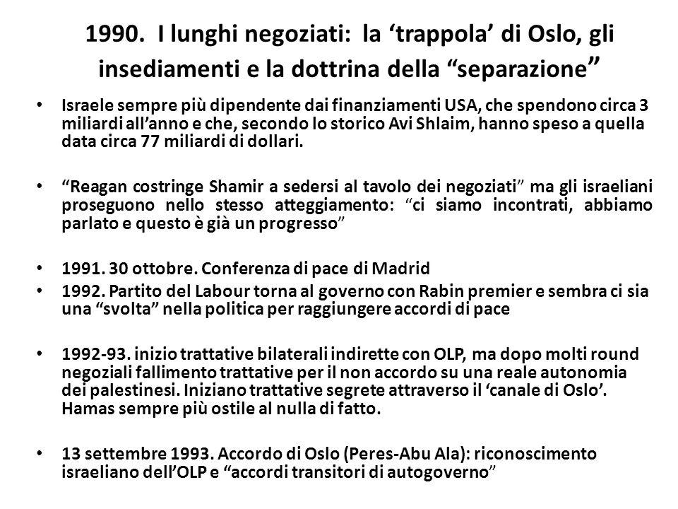 1990. I lunghi negoziati: la trappola di Oslo, gli insediamenti e la dottrina della separazione Israele sempre più dipendente dai finanziamenti USA, c