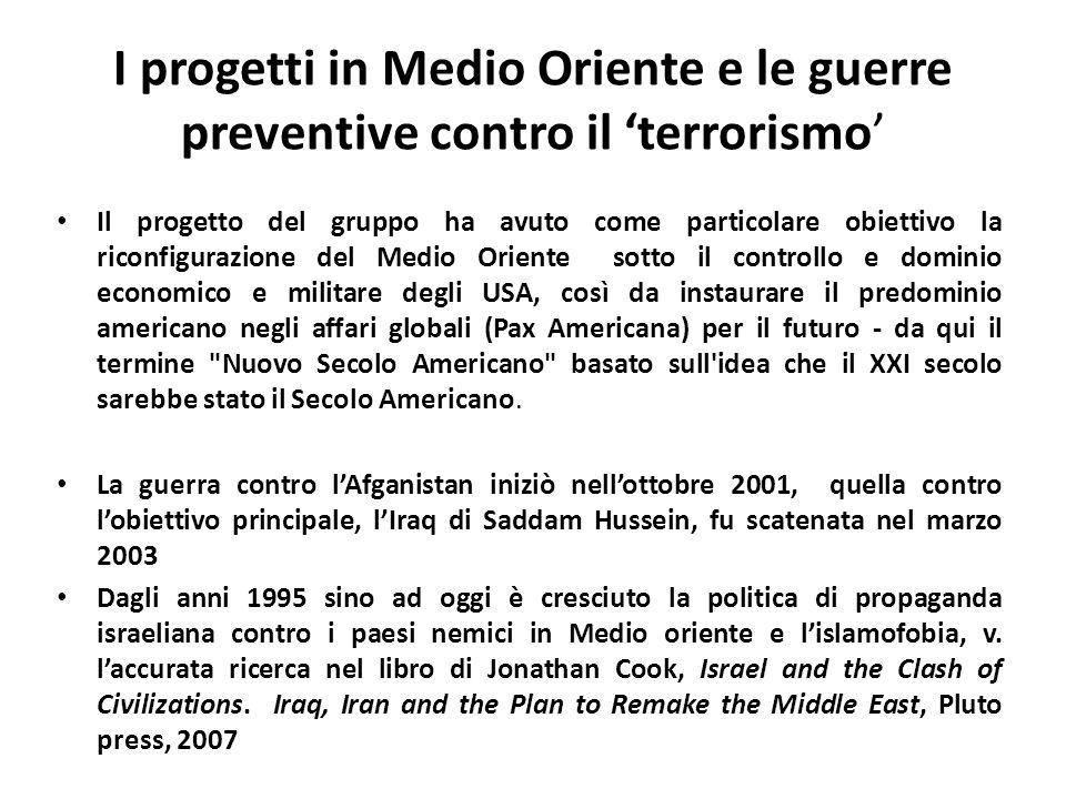 I progetti in Medio Oriente e le guerre preventive contro il terrorismo Il progetto del gruppo ha avuto come particolare obiettivo la riconfigurazione