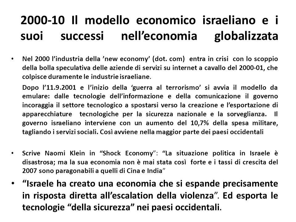 2000-10 Il modello economico israeliano e i suoi successi nelleconomia globalizzata Nel 2000 lindustria della new economy (dot. com) entra in crisi co