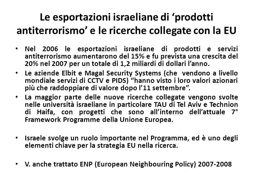 Le esportazioni israeliane di prodotti antiterrorismo e le ricerche collegate con la EU Nel 2006 le esportazioni israeliane di prodotti e servizi anti