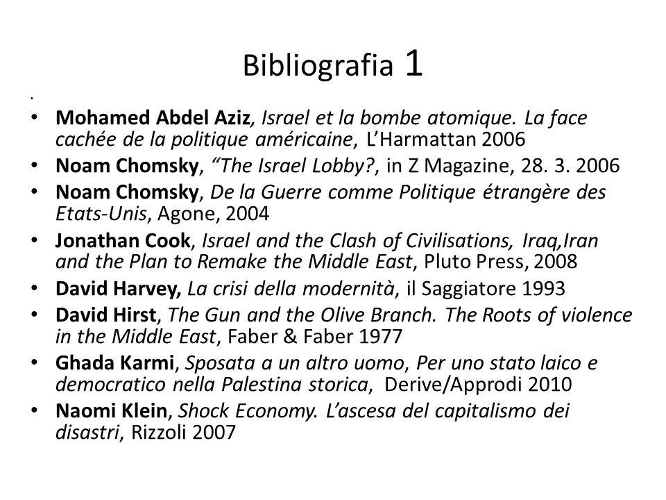Bibliografia 1 Mohamed Abdel Aziz, Israel et la bombe atomique. La face cachée de la politique américaine, LHarmattan 2006 Noam Chomsky, The Israel Lo