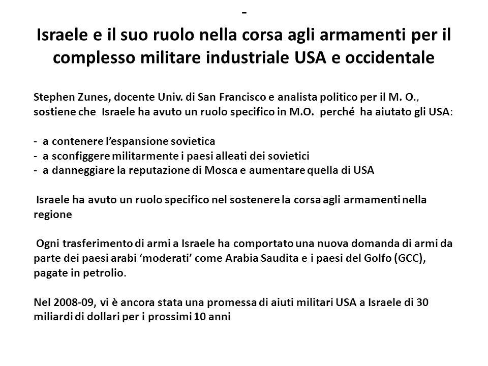 - Israele e il suo ruolo nella corsa agli armamenti per il complesso militare industriale USA e occidentale Stephen Zunes, docente Univ. di San Franci
