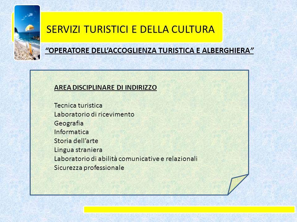 SERVIZI TURISTICI E DELLA CULTURA OPERATORE DELL ACCOGLIENZA TURISTICA E ALBERGHIERA AREA DISCIPLINARE DI INDIRIZZO Tecnica turistica Laboratorio di r