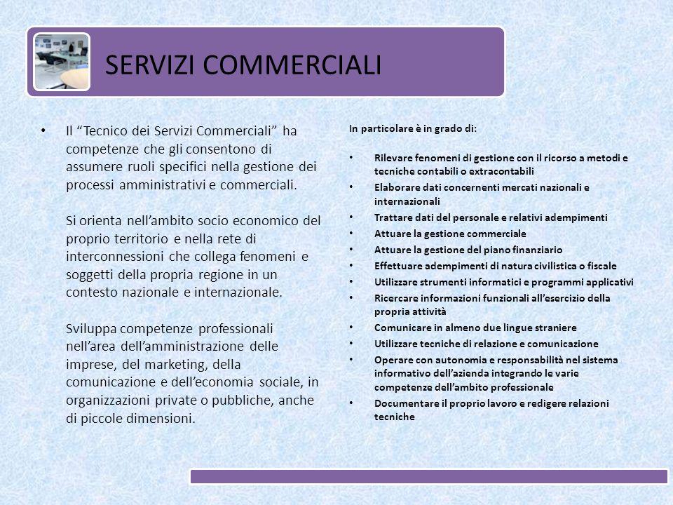 Il Tecnico dei Servizi Commerciali ha competenze che gli consentono di assumere ruoli specifici nella gestione dei processi amministrativi e commerciali.