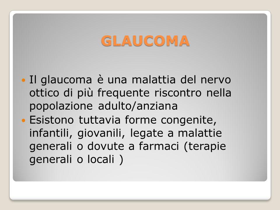 Il glaucoma è una malattia del nervo ottico di più frequente riscontro nella popolazione adulto/anziana Esistono tuttavia forme congenite, infantili,