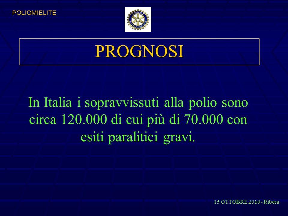 PROGNOSI In Italia i sopravvissuti alla polio sono circa 120.000 di cui più di 70.000 con esiti paralitici gravi.