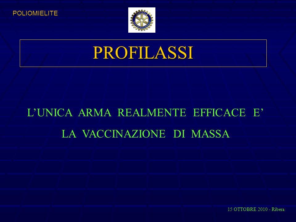 PROFILASSI LUNICA ARMA REALMENTE EFFICACE E LA VACCINAZIONE DI MASSA 15 OTTOBRE 2010 - Ribera POLIOMIELITE