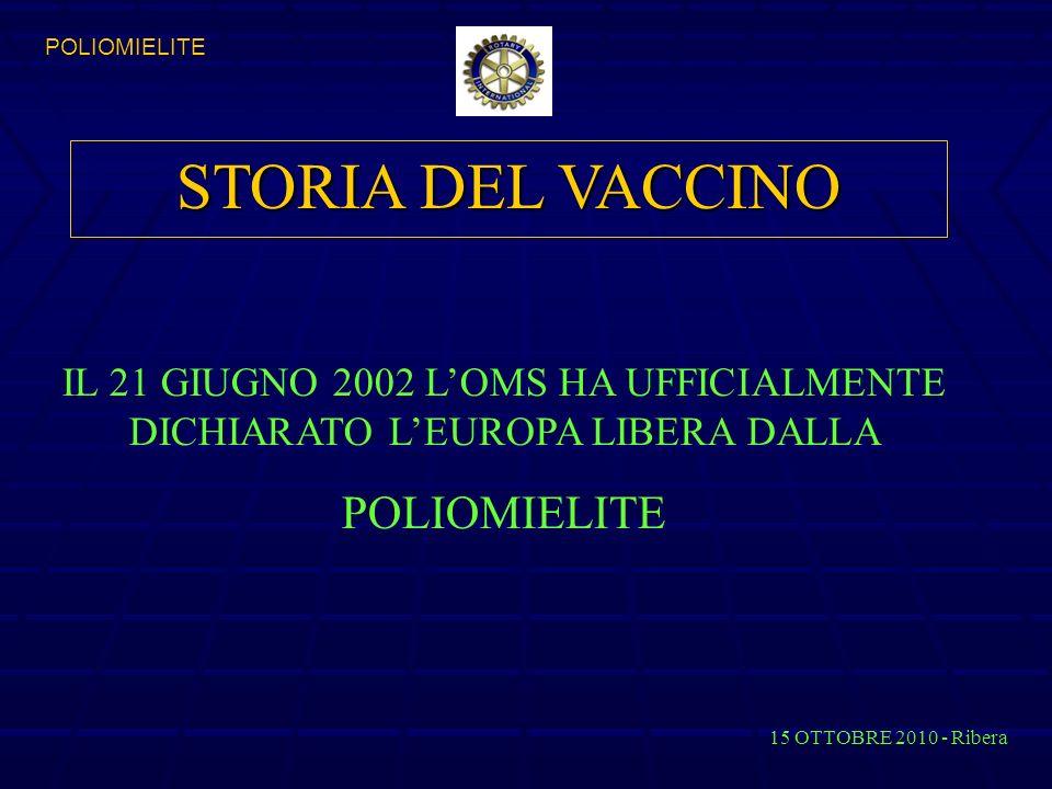 STORIA DEL VACCINO IL 21 GIUGNO 2002 LOMS HA UFFICIALMENTE DICHIARATO LEUROPA LIBERA DALLA POLIOMIELITE 15 OTTOBRE 2010 - Ribera POLIOMIELITE