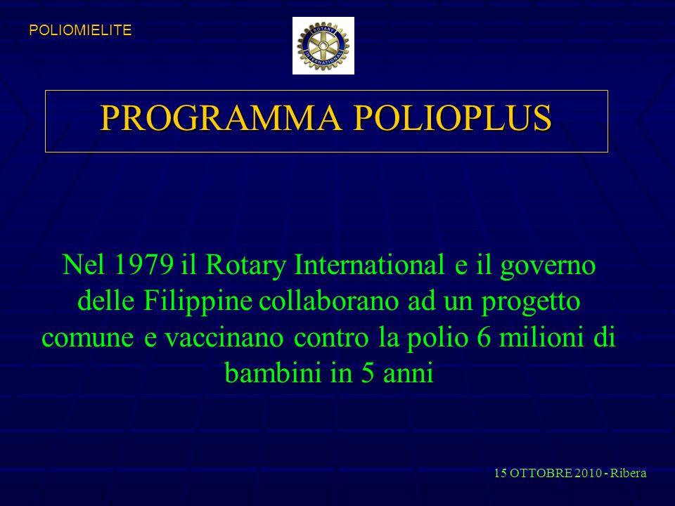 PROGRAMMA POLIOPLUS 15 OTTOBRE 2010 - Ribera POLIOMIELITE Nel 1979 il Rotary International e il governo delle Filippine collaborano ad un progetto comune e vaccinano contro la polio 6 milioni di bambini in 5 anni