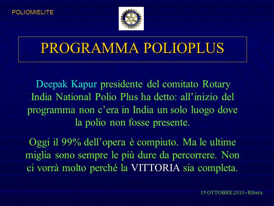 PROGRAMMA POLIOPLUS Deepak Kapur presidente del comitato Rotary India National Polio Plus ha detto: allinizio del programma non cera in India un solo luogo dove la polio non fosse presente.
