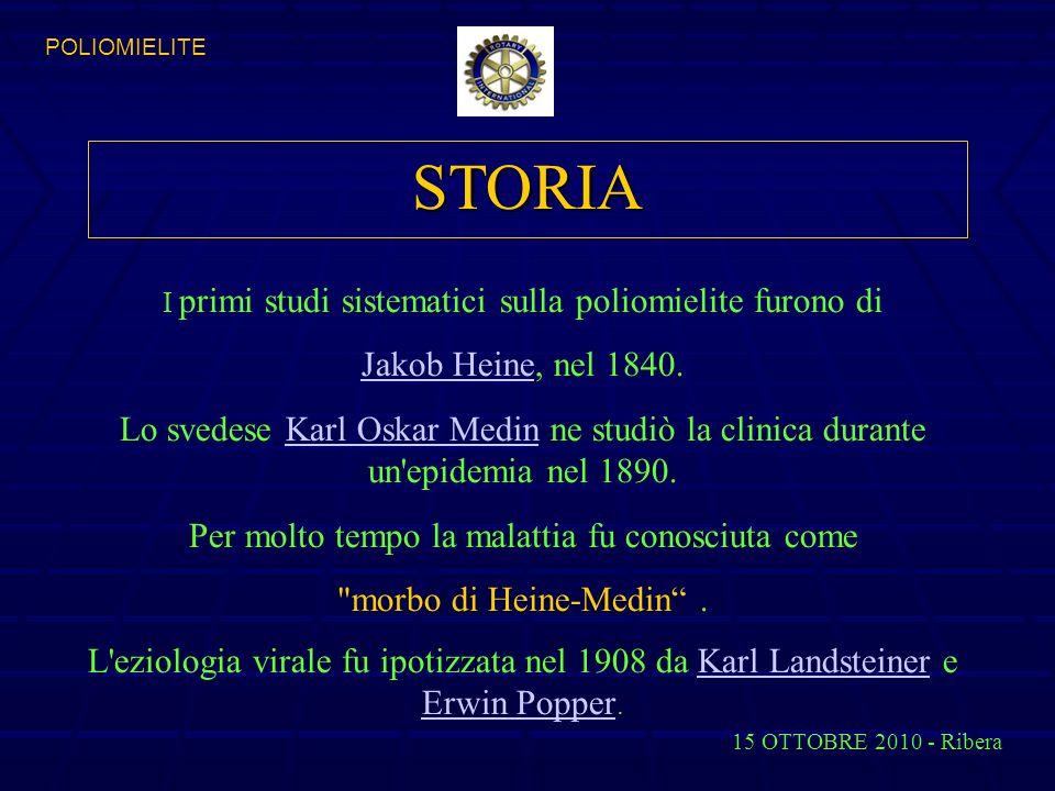 STORIA I primi studi sistematici sulla poliomielite furono di Jakob HeineJakob Heine, nel 1840.