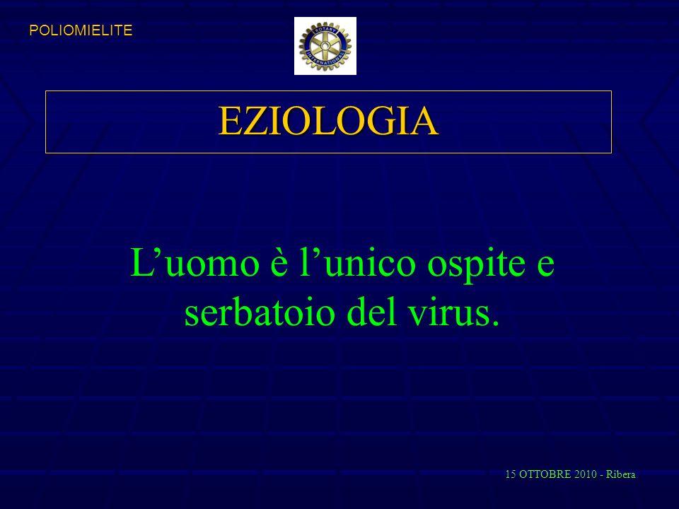 EZIOLOGIA Luomo è lunico ospite e serbatoio del virus. 15 OTTOBRE 2010 - Ribera POLIOMIELITE