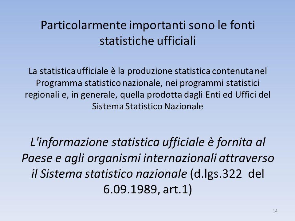 14 Particolarmente importanti sono le fonti statistiche ufficiali La statistica ufficiale è la produzione statistica contenuta nel Programma statistic