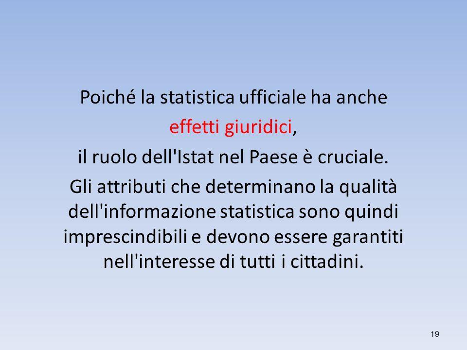 Poiché la statistica ufficiale ha anche effetti giuridici, il ruolo dell'Istat nel Paese è cruciale. Gli attributi che determinano la qualità dell'inf