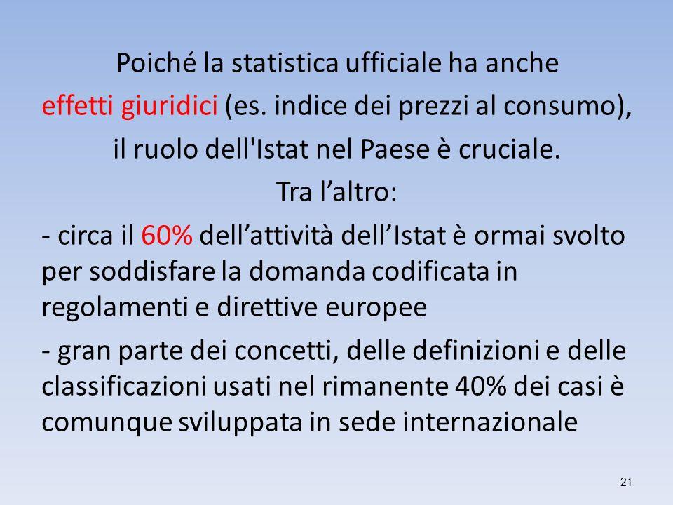 Poiché la statistica ufficiale ha anche effetti giuridici (es. indice dei prezzi al consumo), il ruolo dell'Istat nel Paese è cruciale. Tra laltro: -