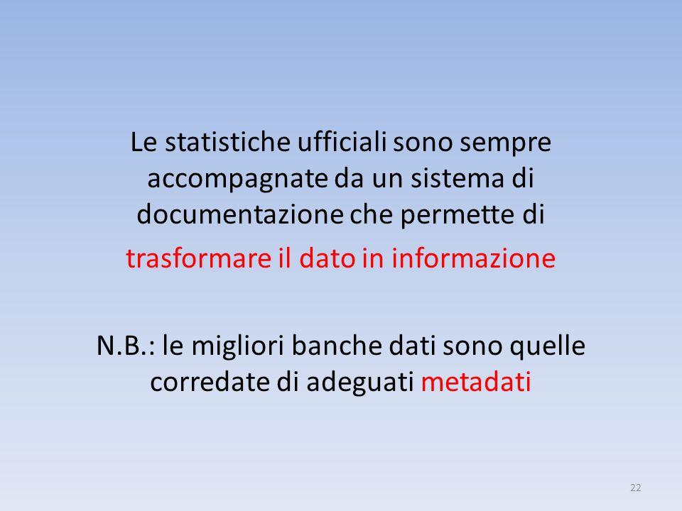 Le statistiche ufficiali sono sempre accompagnate da un sistema di documentazione che permette di trasformare il dato in informazione N.B.: le miglior