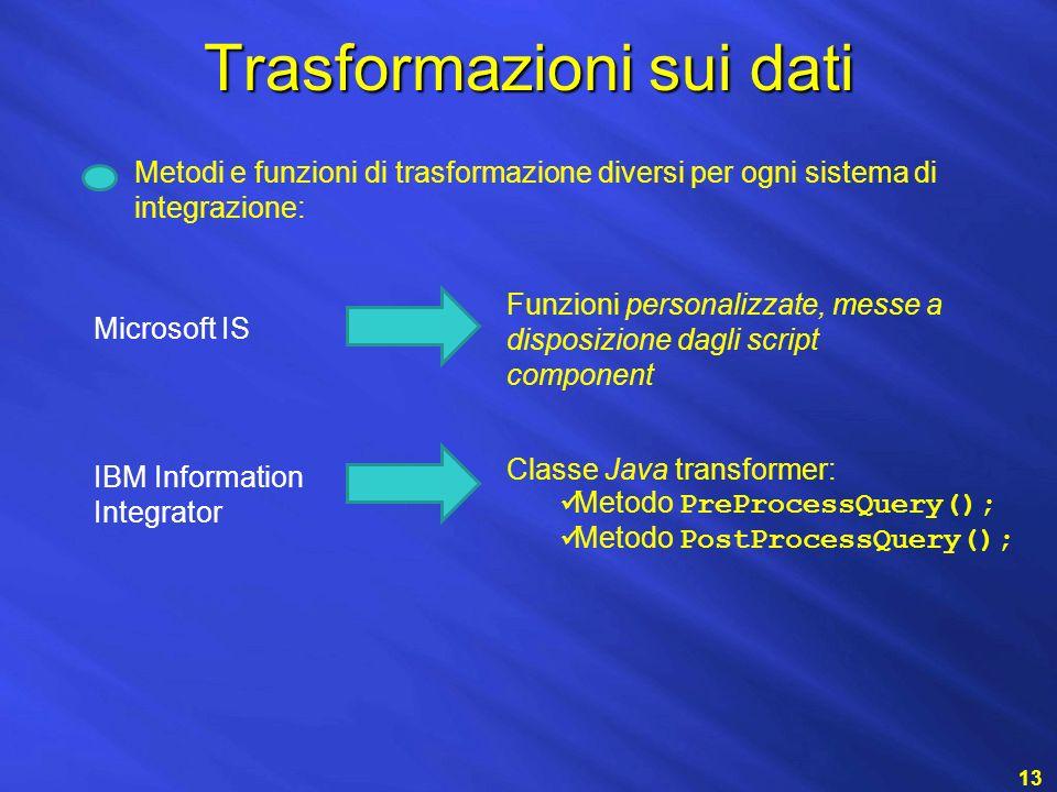 Trasformazioni sui dati 13 Metodi e funzioni di trasformazione diversi per ogni sistema di integrazione: IBM Information Integrator Classe Java transformer: Metodo PreProcessQuery(); Metodo PostProcessQuery(); Microsoft IS Funzioni personalizzate, messe a disposizione dagli script component