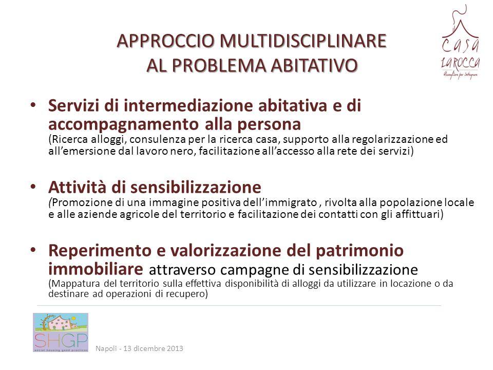 Integrazione con i servizi territoriali Piccole attività economiche collaterali Accoglienza di turisti SOSTENIBILITÀ Napoli - 13 dicembre 2013