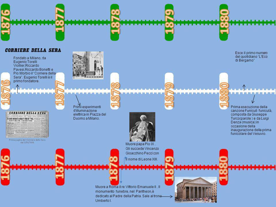 Muore a Roma il re Vittorio Emanuele ll. Il monumento funebre, nel Pantheon,è dedicato al Padre della Patria. Sale al trono Umberto l. Muore papa Pio