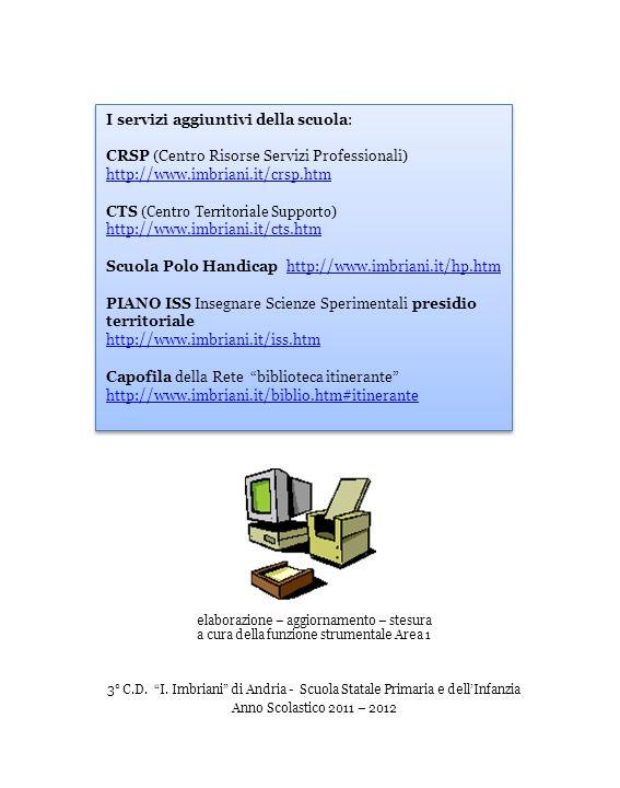 I servizi aggiuntivi della scuola: CRSP (Centro Risorse Servizi Professionali) http://www.imbriani.it/crsp.htm http://www.imbriani.it/crsp.htm CTS ( Centro Territoriale Supporto ) http://www.imbriani.it/cts.htm http://www.imbriani.it/cts.htm Scuola Polo Handicap http://www.imbriani.it/hp.htmhttp://www.imbriani.it/hp.htm PIANO ISS Insegnare Scienze Sperimentali presidio territoriale http://www.imbriani.it/iss.htm Capofila della Rete biblioteca itinerante http://www.imbriani.it/biblio.htm#itinerante http://www.imbriani.it/biblio.htm#itinerante I servizi aggiuntivi della scuola: CRSP (Centro Risorse Servizi Professionali) http://www.imbriani.it/crsp.htm http://www.imbriani.it/crsp.htm CTS ( Centro Territoriale Supporto ) http://www.imbriani.it/cts.htm http://www.imbriani.it/cts.htm Scuola Polo Handicap http://www.imbriani.it/hp.htmhttp://www.imbriani.it/hp.htm PIANO ISS Insegnare Scienze Sperimentali presidio territoriale http://www.imbriani.it/iss.htm Capofila della Rete biblioteca itinerante http://www.imbriani.it/biblio.htm#itinerante http://www.imbriani.it/biblio.htm#itinerante elaborazione – aggiornamento – stesura a cura della funzione strumentale Area 1 3° C.D.