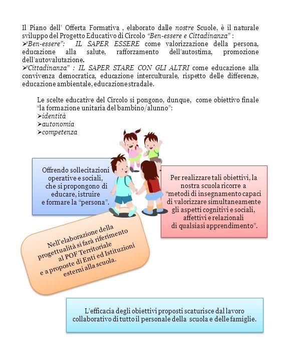 Il Piano dell Offerta Formativa, elaborato dalle nostre Scuole, è il naturale sviluppo del Progetto Educativo di Circolo Ben-essere e Cittadinanza : Ben-essere: IL SAPER ESSERE come valorizzazione della persona, educazione alla salute, rafforzamento dellautostima, promozione dellautovalutazione.